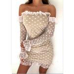 Fashion Flare Sleeve Double Dot Long Sleeve Off Shoulder Dress