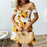 Strapless Floral Chiffon Ruffled  Off Shoulder Dress