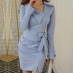 Elegant Fashion Striped Button Ruched Office Dresses