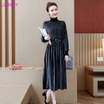 high collar long-sleeved loose tie waist office dress
