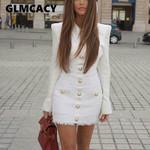 Tweed Patchwork Elegant Long Sleeve Single Breasted Office Dress