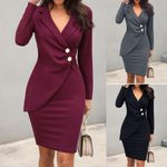 Sexy Solid Turn Down Neck Long Sleeve Buttons Office Dress