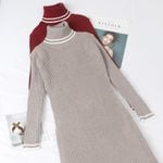 Mid-Calf Long Sleeves Turtleneck Sweater Dress