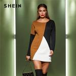 Long Sleeve Scoop Neck  Casual Pencil Drop Shoulder Sweater Dress
