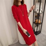 Thick Round Neck Long Sleeve Knit  Slim Sweater Dress