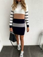 Slim Long Sleeve Patchwork Knitted Turtleneck Casual Sweater Dress