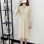 Elastic Stretch  Long Sleeve A-line Knitting Warm Sweater Dress