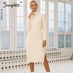 Elegant side split long sleeve Turtleneck fit sweater dress