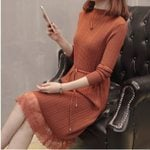 Elastic Long Sleeve A-line Patchwork Lace knitted Warm Sweater Dress