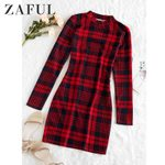 Plaid Vintage Sexy Office Elegant Sheath Skinny Sweater Dress