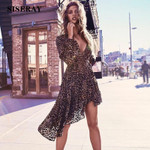 Fashion Lantern Sleeve  Ruffle Sexy V Neck Leopard Print Dress