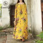 Vintage Floral Long Sleeves Pockets O Neck Cotton Loose Print Dresses