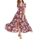 Floral Button Up Short Sleeve Split Printed Dresses