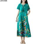 Cotton Linen Round Neck Short Sleeve Printed Dress