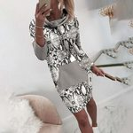 Vintage Long Sleeve Pocket Leopard Print Dress