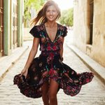 V Neck Vintage Long Floral National Chiffon Print Dress