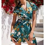 Floral Print V Neck Bandage Sashes Ruffle Wrap Dress