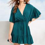 Floral Short Sleeve Wrap Dress