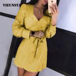 Sexy Deep V-neck Glitter Long Sleeve Belted Wrap Dress