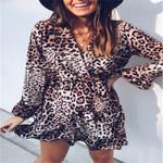 Ruffles Trim Leopard V Neck Long Sleeve Wrap Dress