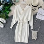 Elegant Sleeve V Neck Knitted Vintage Wrap Dress