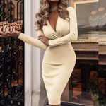 Sexy Dress Long Sleeve Deep V-neck Vintage Wrap Dress
