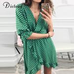 Vintage Half Sleeve Ruffle Print Polka Dot Sexy Wrap Dress