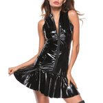 Bandage Leather Sexy Wet Look Black Dress