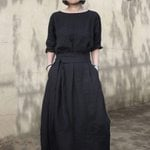 Cotton Linen A-Line Japan  Black Dress
