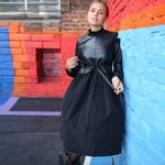 Patchwork Sashes Long Sleeve Stand Collar Vintage Black Dress