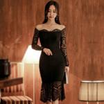 Sexy Slash Neck Fishtail Full Lace  Slim Black Dress