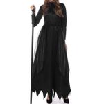 Magic Witch Cosplay Witch craft Long Dress Horns Black Dress