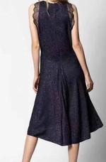 LEOPARD SILK SLEEVELESS LACE Round Neck Ruffled Black Dress