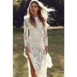 Vintage Long Sleeve Sexy Backless Lace White Dress