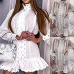 Elegant Casual High Waist Club Beach Slim White Dress