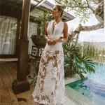 Elegant lace floral Sexy deep v neck backless white dress