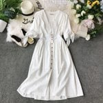 cotton linen wind fashion chic single-breasted  retro v-neck white dress