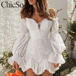 Off shoulder long lantern sleeve elegant ruffle white dress