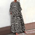Casual 3/4 Sleeve Loose  Vintage Long Leopard Dresses
