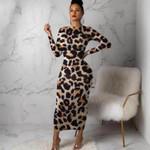 O Neck Long Sleeve Long Leopard Dress