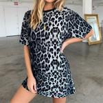 Elegant Short Sleeve Fashion Leopard Dress