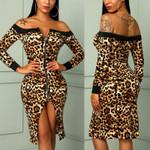 Zippers Split Long Sleeve Slim Print Off Shoulder Sexy Leopard Dress