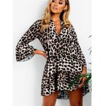 Python Print Deep V-Neck Long Sleeve Sexy Leopard Dress