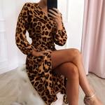 Sexy Deep V-neck Loose Long Sleeve Chiffon Leopard Dress