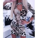 V-Neck Backless Sexy  Long Sleeve Slim Sexy Leopard Dress