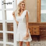 Elegant cotton Ruffled high waist sexy v-neck Vintage Dress