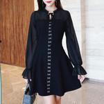 A-Line Lace-Up Cool Plain Elegant Office Fashion Vintage Dresses
