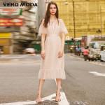Flocking Polka Dots Laced Gauzy Vintage Dress
