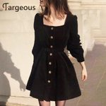 Fashion Breasted High Waist Square Collar Vintage Dress
