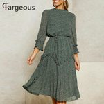 Elegant Ruffle Chiffon Pleated Casual Leaf Print Dot Vintage Dress